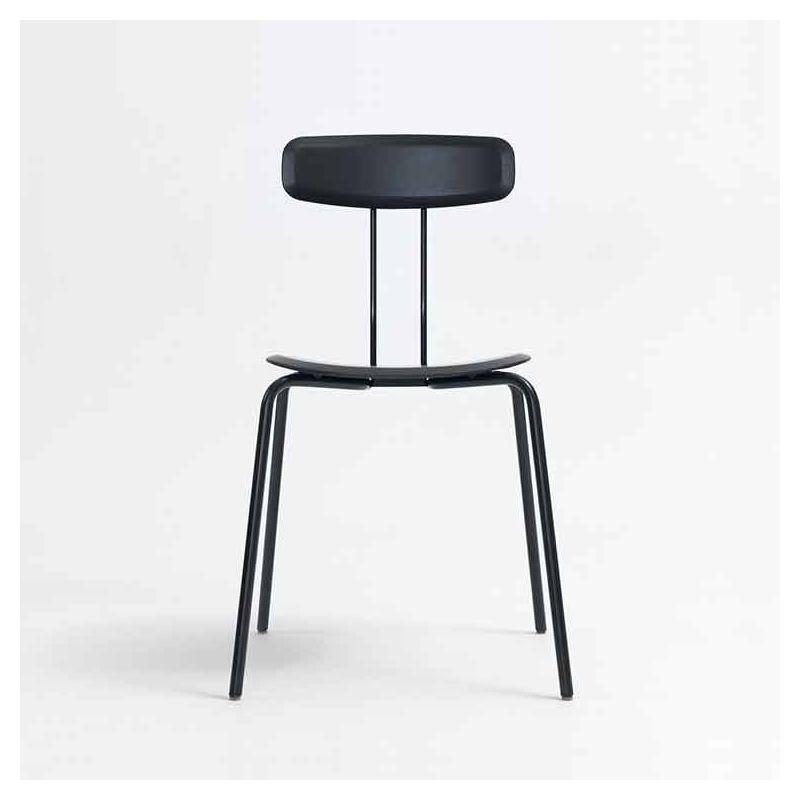 Chaise plaqué hêtre laqué noir OKITO PLY Zeitraum