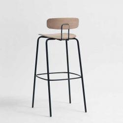 Chaise de bar chêne massif OKITO BAR Zeitraum, assise 80 cm et dossier bas
