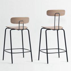 Chaises de bar chêne massif assise 65 cm  OKITO BAR Zeitraum, dossier bas et haut