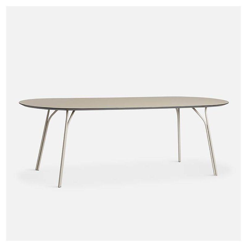 Table rectangulaire 220 cm TREE Woud, pieds beige et plateau FENIX NTM® beige