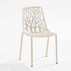 Chaise de jardin aluminium blanc crème FOREST Fast