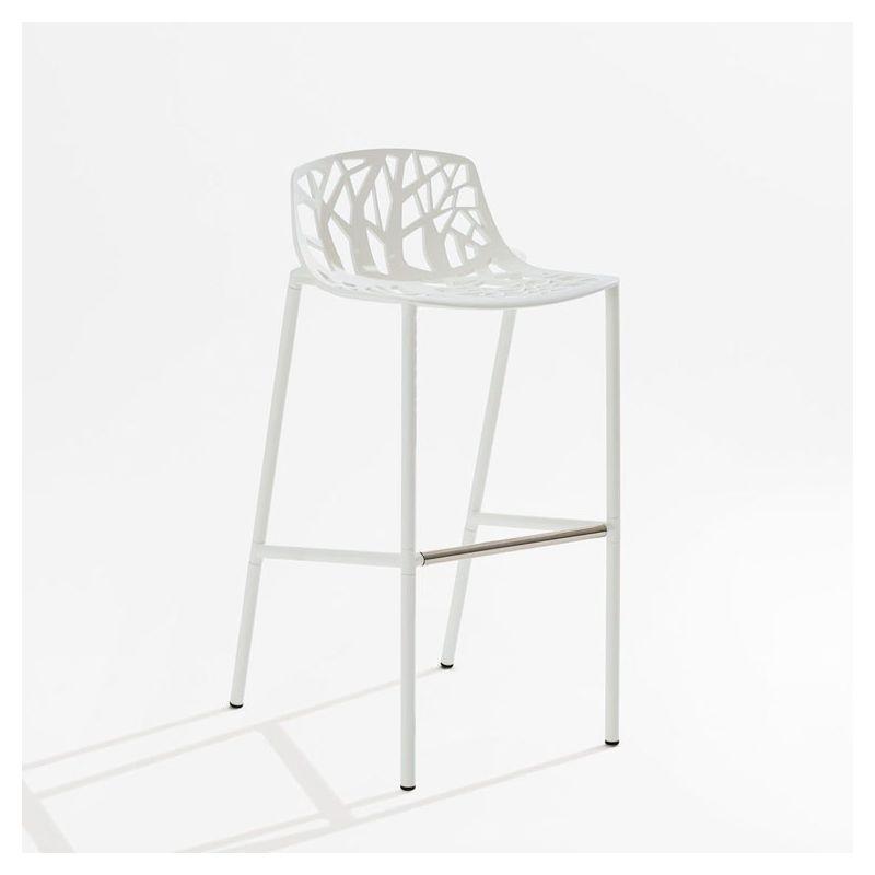 Chaise de bar aluminium blanc dossier bas h 78 cm FOREST Fast
