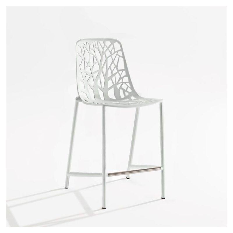 Chaise de bar aluminium dossier haut blanc FOREST Fast
