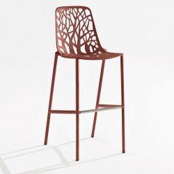 Chaise de bar aluminium dossier haut h 78 cm terracotta FOREST Fast