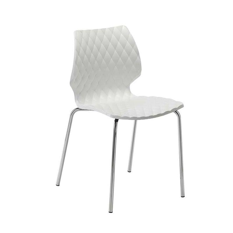 Chaise pieds droits chrome brillant UNI Metalmobil, coloris blanc