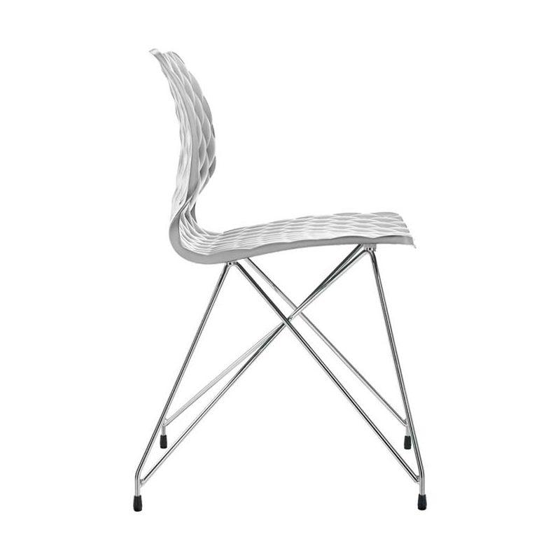 Chaise pieds treillis chrome brillant coloris blanc UNI Metalmobil