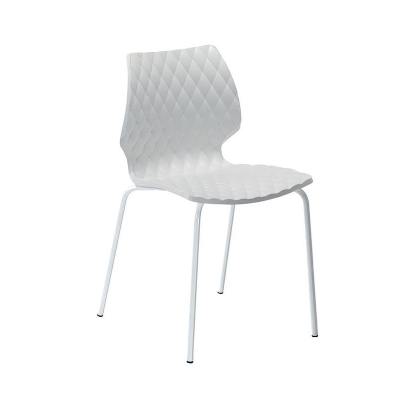 Chaise outdoor blanc pieds droits laqués blanc UNI Metalmobil