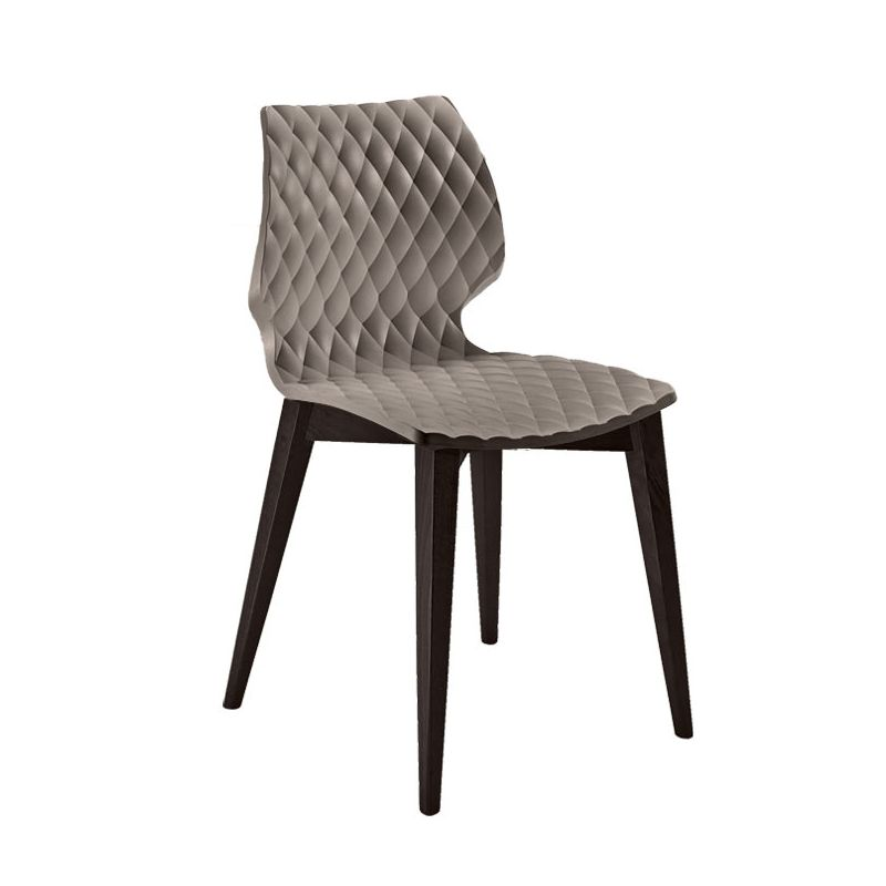 Chaise assise gris tourterelle pieds hêtre teinté wengé UNI 562 Et-al
