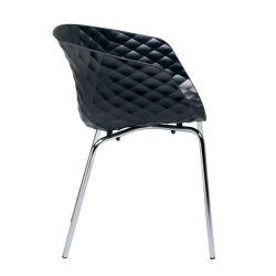 Chaise UNI-KA pieds droits chromés brillants coloris noir 594 Et-al