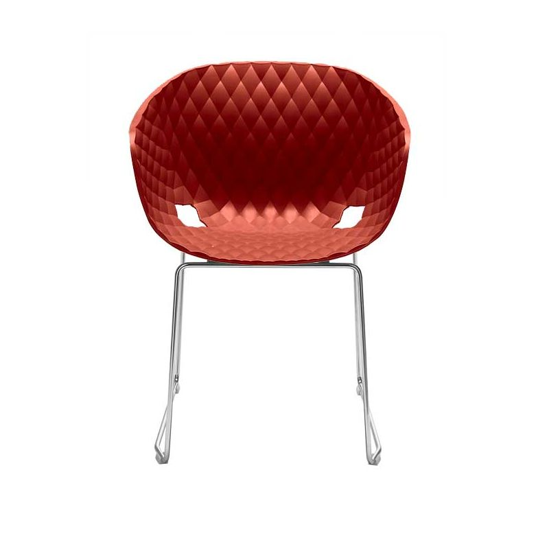 Chaise pieds luge chromés brillants coloris rouge corail UNI-KA 595 Et-al
