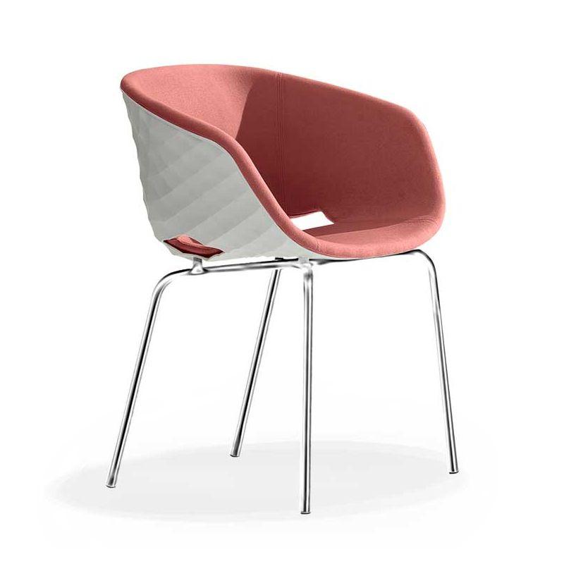 Chaise coque blanche rembourrée tissu Rose-Medley 63064 pieds droits chromés UNI-KA Et-al