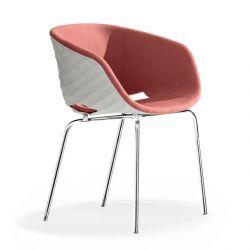 Chaise rembourrée pieds droits chromés 594 M UNI-KA Et-al