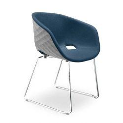 Chaise coque blanche rembourrée tissu Bleu cobalt-Medley 66010 pieds luge chromés UNI-KA Et-al