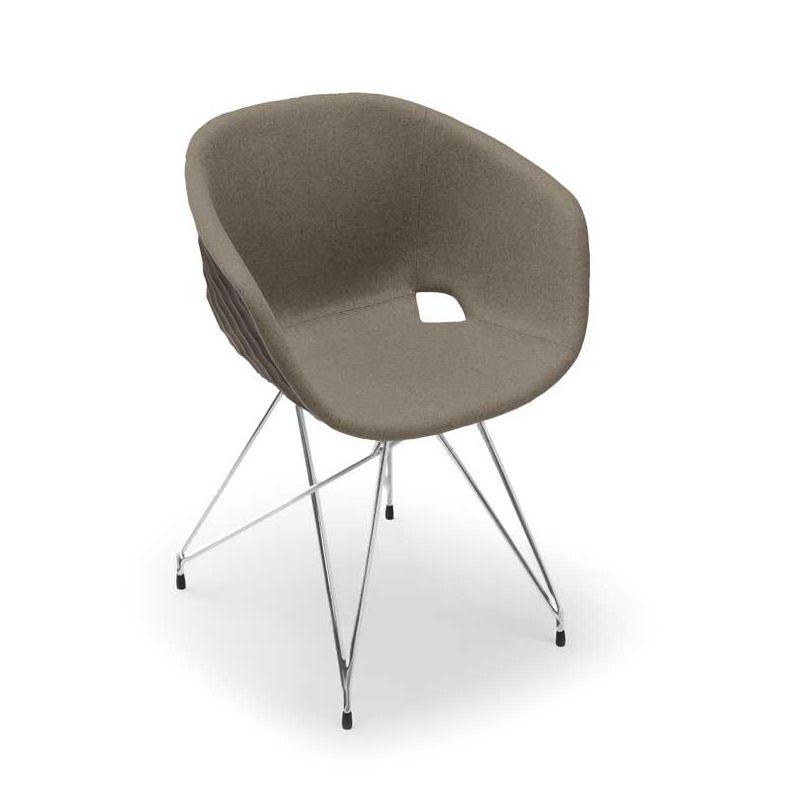 Chaise coque gris tourterelle rembourrée tissu Beige-Medley 61002 pieds treillis chromés UNI-KA Et-al