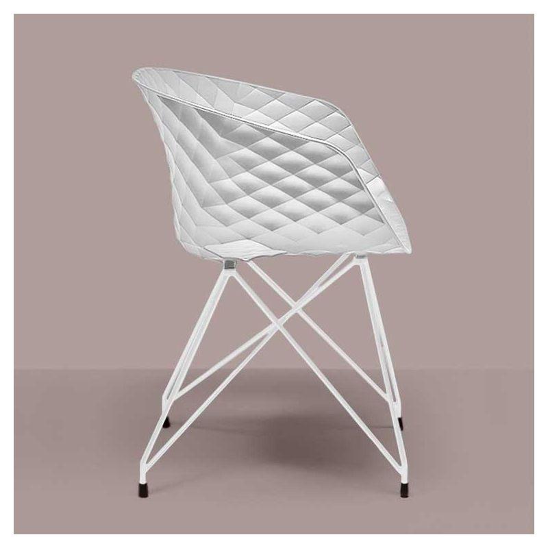 Chaise pieds treillis laqués blanc, coque blanche  596 VR UNI-KA Et-al