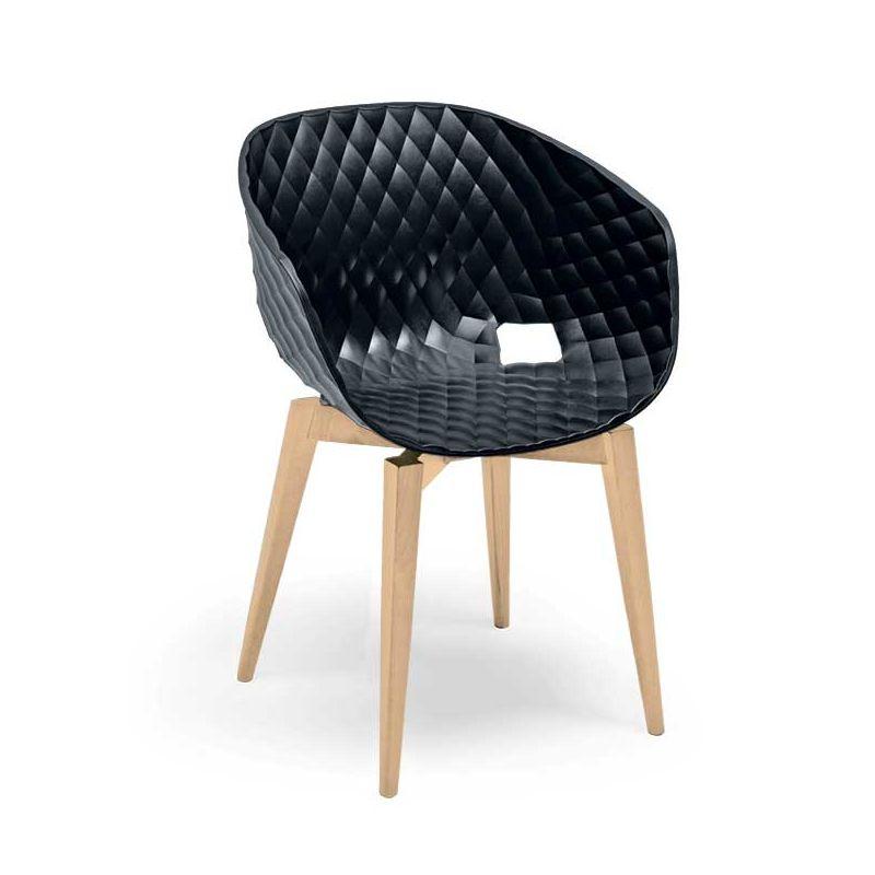 Chaise pieds hêtre naturel, coque anthracite UNI-KA 599 Et-al