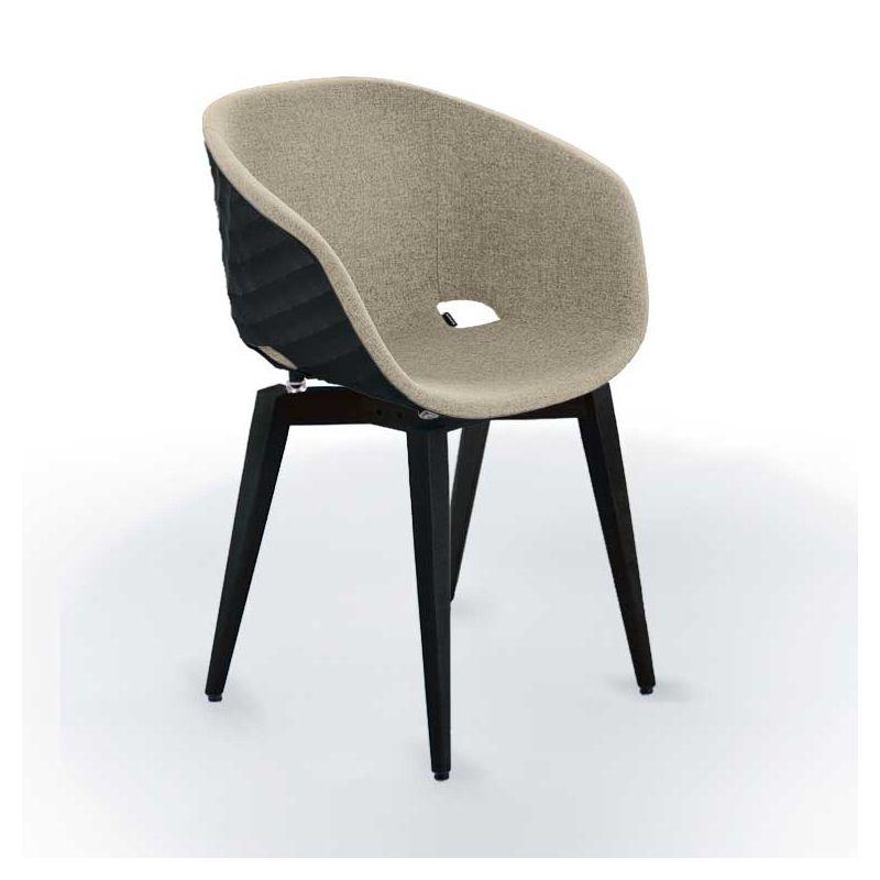 Chaise pieds hêtre teinté noir, coque noir, tissu beige UNI-KA Et-al