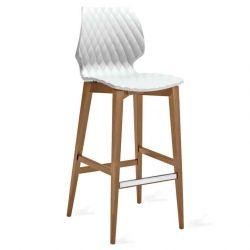 Chaise de bar pieds hêtre teinté noyer canaletto, coque blanc 386 UNI Et-al