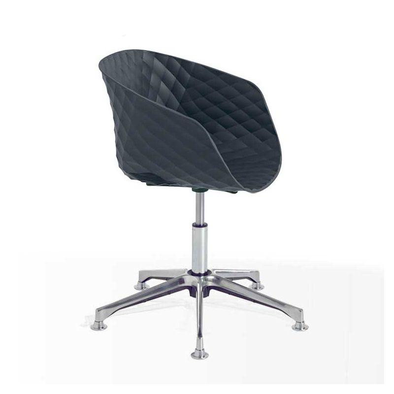 Chaise pivotante 597 DP pied aluminium brillant, coque anthracite, UNI-KA Et-al
