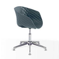 Chaise pivotante 597 DP pied aluminium brillant, coque gris petit-gris, UNI-KA Et-al