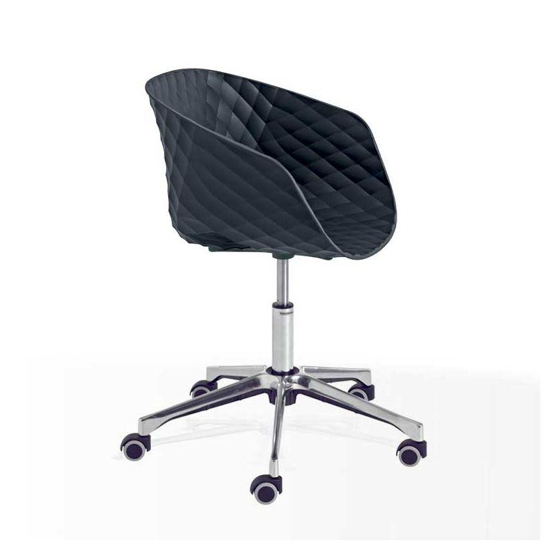 Chaise pivotante à roulettes 597 DR pied aluminium brillant, coque anthracite, UNI-KA Et-al