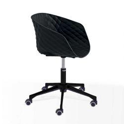 Chaise pivotante à roulettes 597 DR pied aluminium vernis noir, coque noir, UNI-KA Et-al