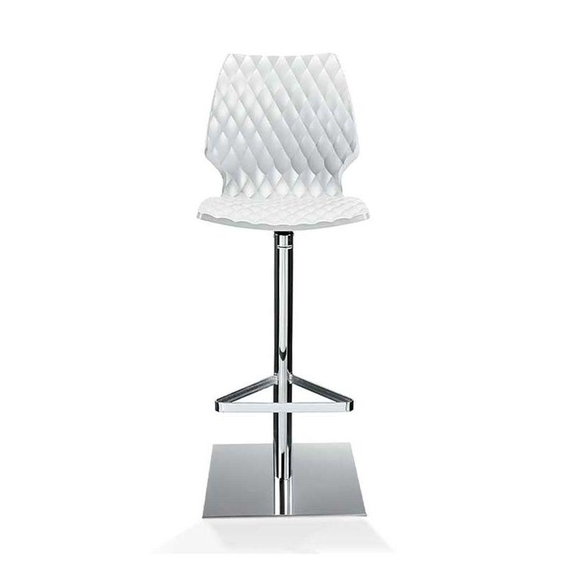 Chaise de bar pivotante coque blanche h. assise 76 cm  UNI 380 Et-al
