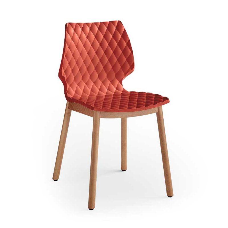 Chaise bois pieds ronds hêtre teinté chêne UNI 577 Et-al, coloris rouge corail
