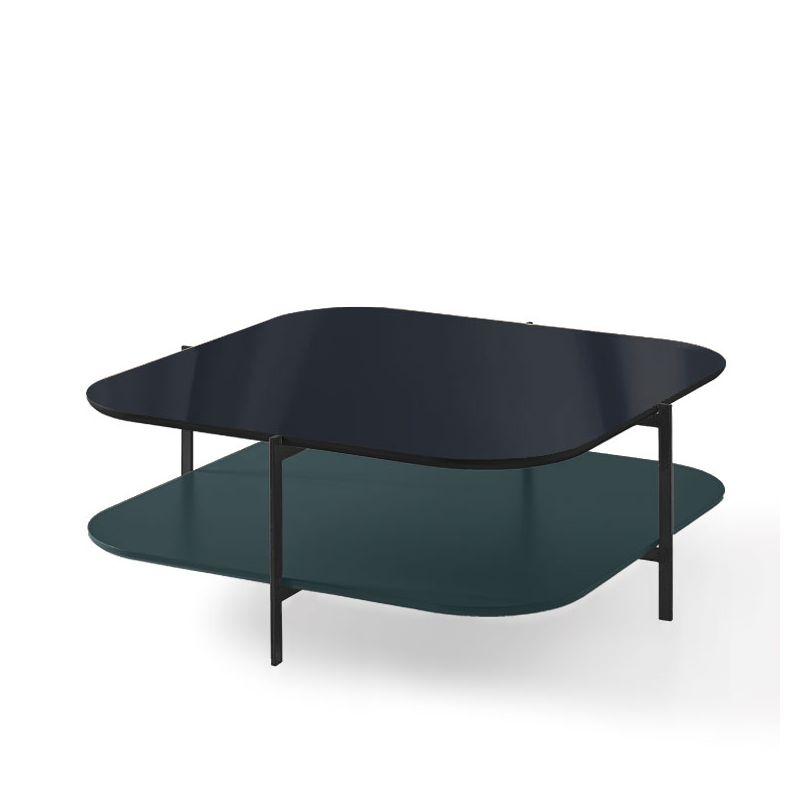 Table basse carrée 120 x 120 cm EXO Kendo, plateau verre noir et tablette océan
