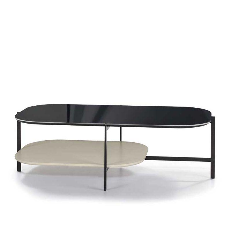 Table basse rectangulaire 120 x 60 cm EXO Kendo, plateau verre noir et tablette sable