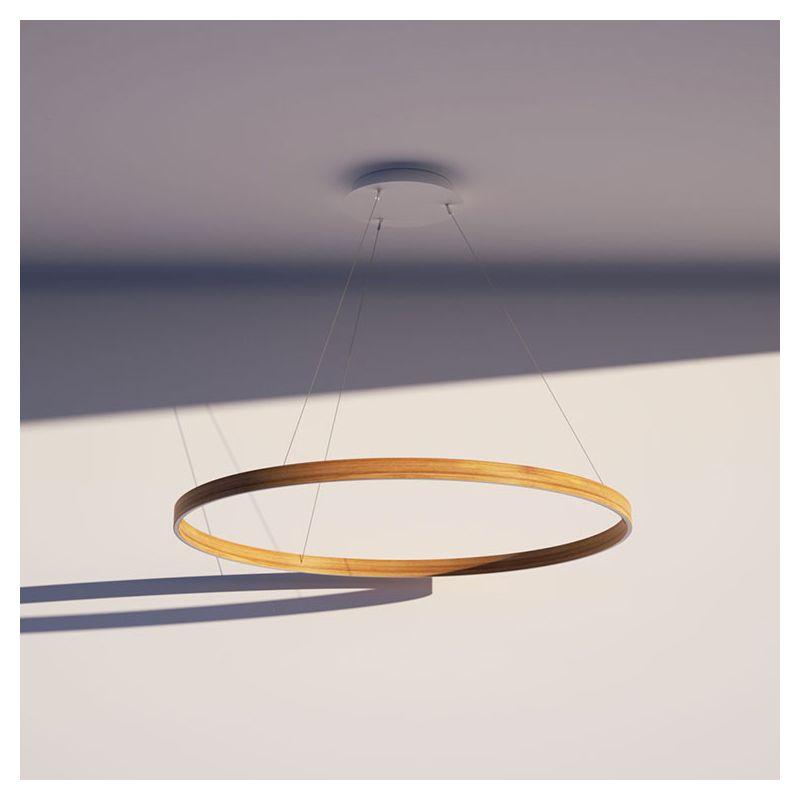 Suspension LEDs O²5 Henri Bursztyn, extérieur chêne naturel et intérieur chêne naturel