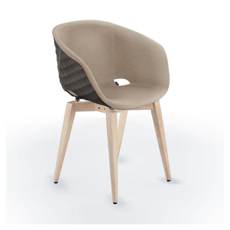 Chaise rembourrée simili cuir birke & pieds hêtre teinté érable, coque argile UNI-KA 599 M Et-al