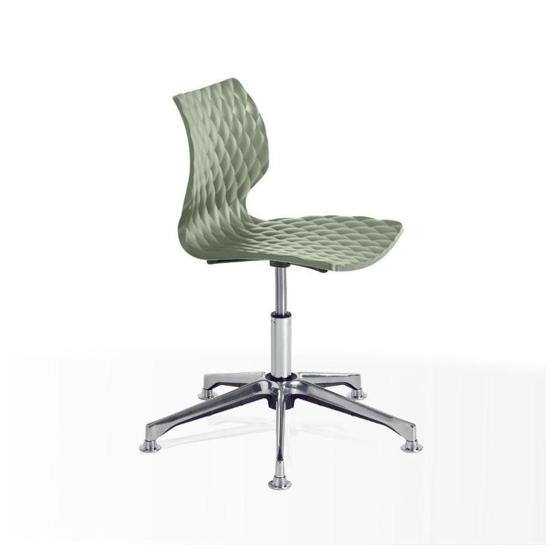 Chaise pivotante aluminium brillant UNI 558 DP Et-al, coque pistache