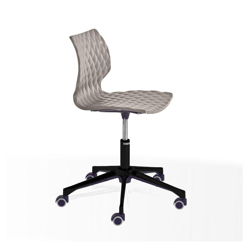 Chaise pivotante aluminium vernis noir à roulettes UN 558 DR Et-al, coque gris tourterelle