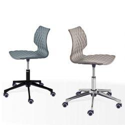 Chaises pivotantes à roulettes UN 558 DR Et-al, pied aluminium brillant et vernis noir