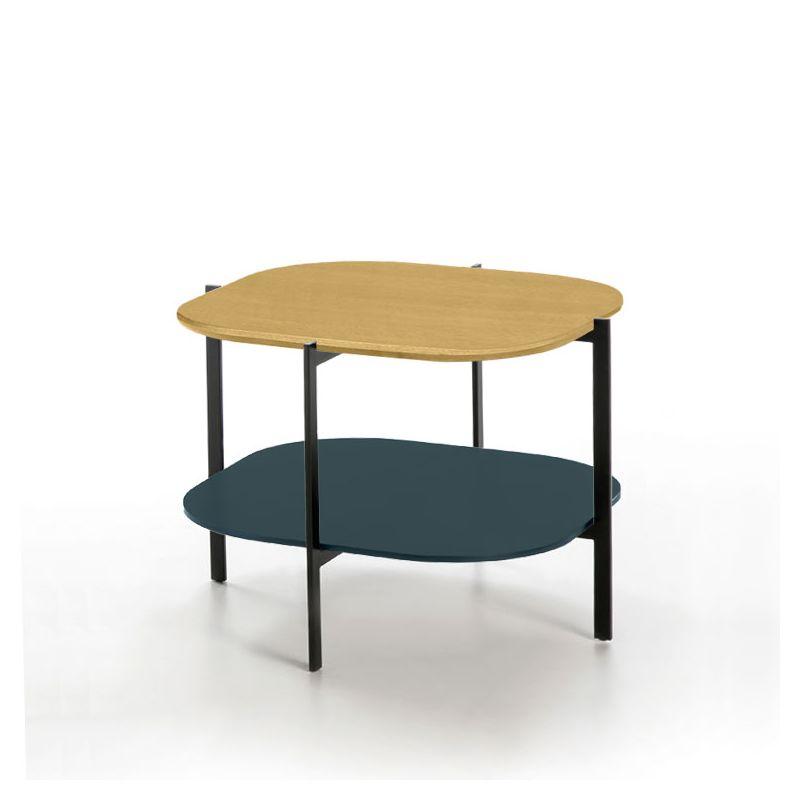 Table d'appoint carrée 60 x 60 EXO Kendo, plateau chêne naturel et tablette océan