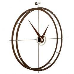 Horloge murale acier chromé et calabo DOBLE O Nomon