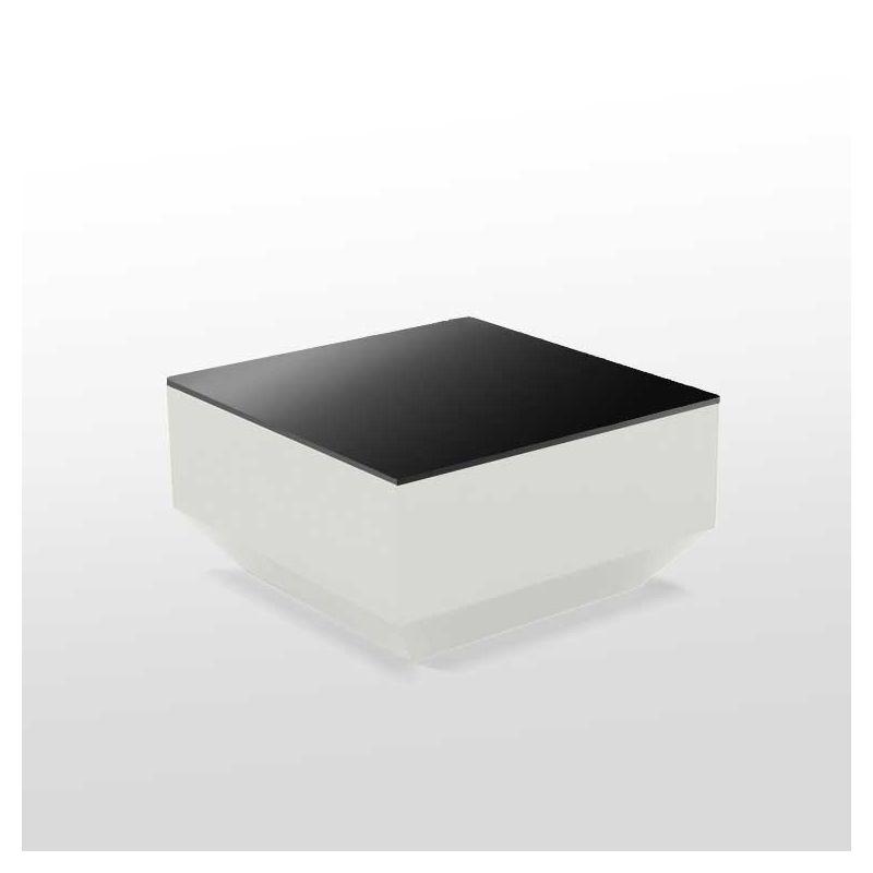 Table basse 60 x 60 VELA Vondom, coloris blanc et plateau verre noir