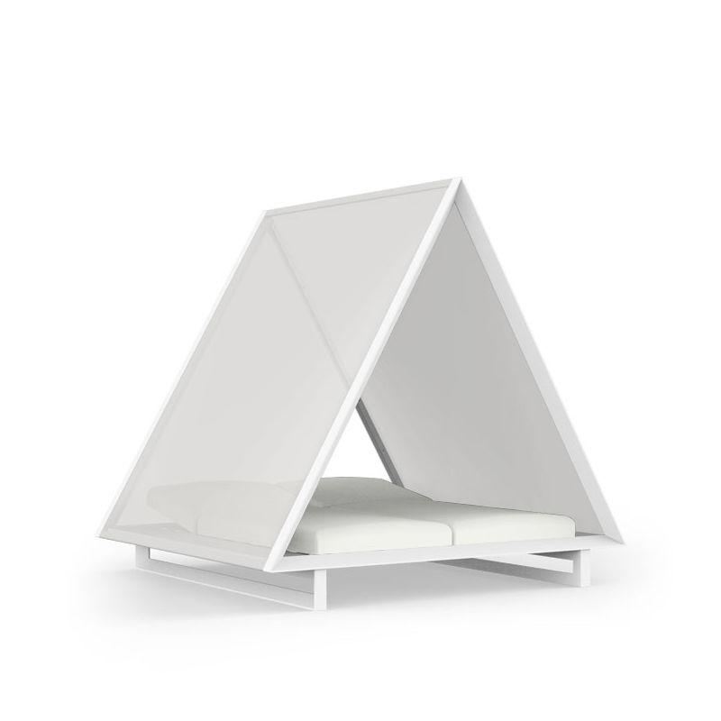 Daybed FRAME VINEYARD Vondom, Aluminium blanc, toit tissu blanc, matelas crevin blanc