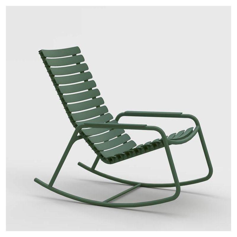 Rocking chair outdoor vert olive RECLIPS Houe, accoudoirs aluminium