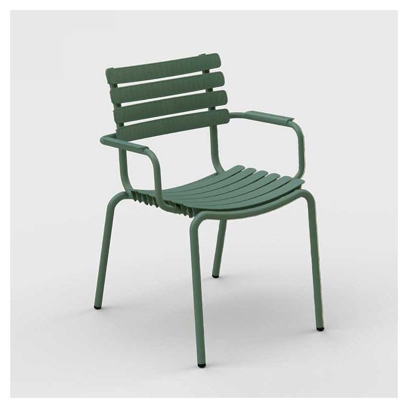 Fauteuil de jardin coloris vert olive ReCLIPS Houe, accoudoirs aluminium