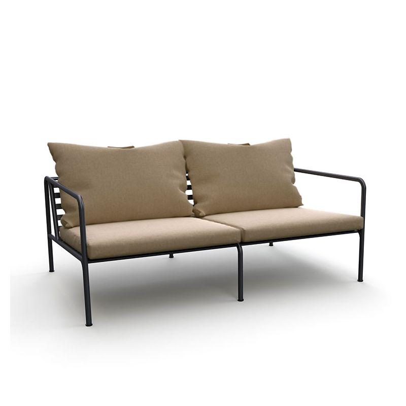 Canapé extérieur 2 places AVON Houe, Tissu coussins Sunbrella Héritage ash