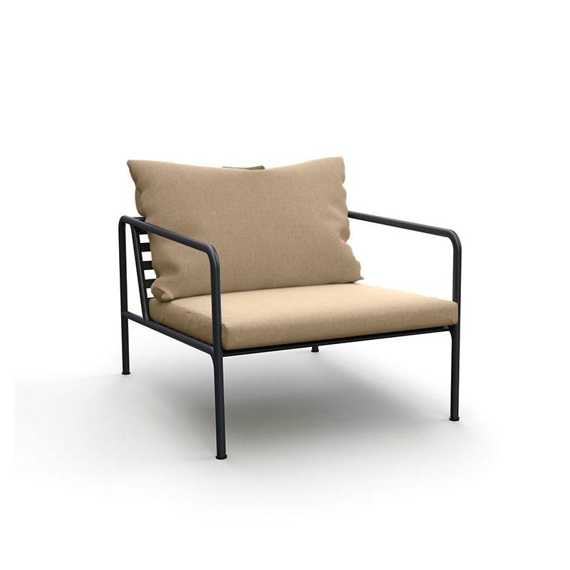 Fauteuil lounge  d'extérieur AVON Houe, Tissu coussins Sunbrella Héritage ash