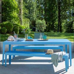 Table rectangulaire et banc aluminium ZEF Matière Grise, coloris azur