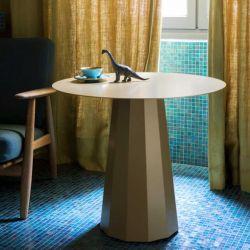 Table lounge ANKARA Ø 70 cm Matière Grise, coloris champagne