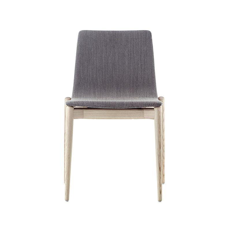 Chaise MALMÖ 391, frêne blanchi, tissu gris clair Pedrali