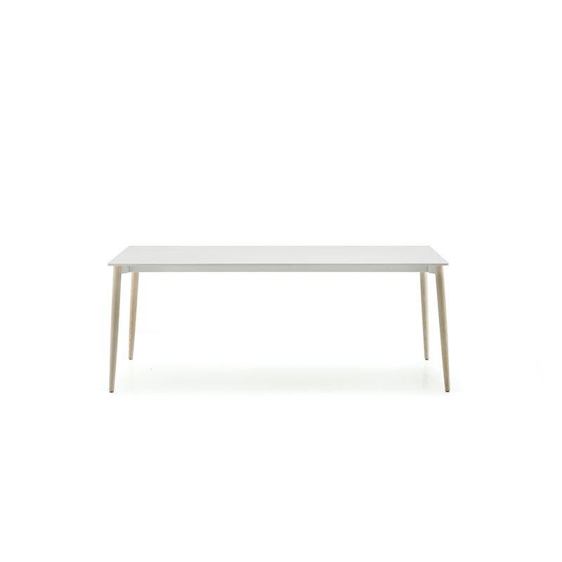 Table MALMÖ pieds frêne blanchi, plateau blanc Pedrali