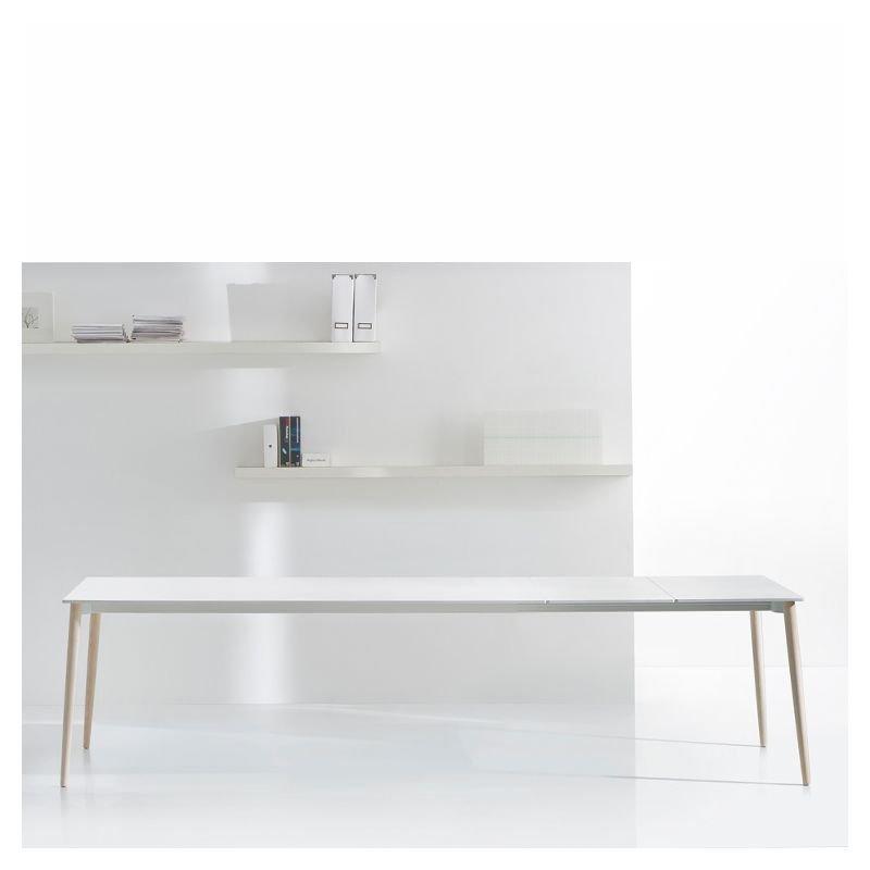 Table extensible pieds frêne blanchi, plateau blanc MALMÖ Pedrali