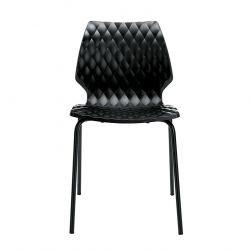 Chaise outdoor pieds droits laqués UNI Metalmobil