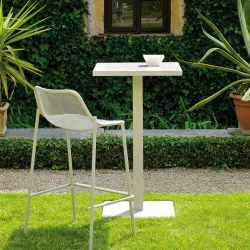 Chaise de bar empilable blanche ROUND Emu